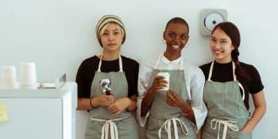 Kitchen staff smiling